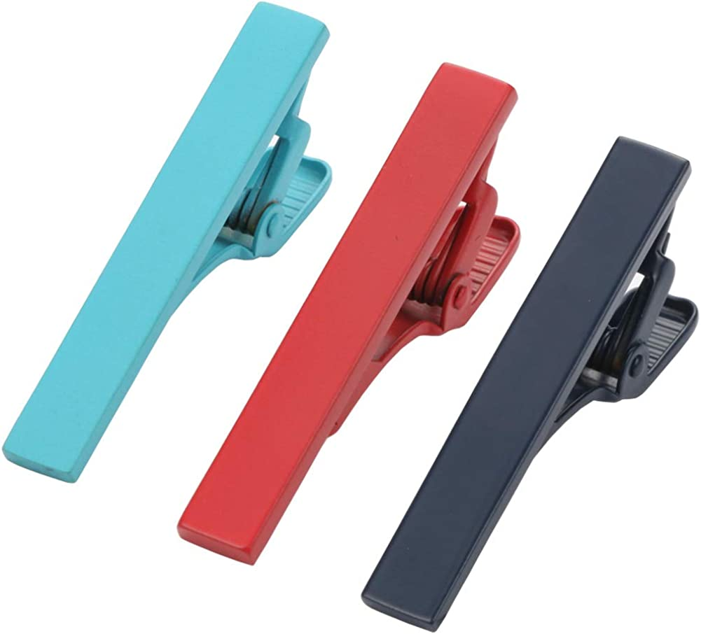 Dannyshi Mens Fashion Skinny Tie Clips Set, Mini Tie Bar Clip Multiple Colors