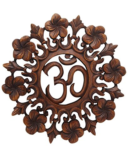 - Buddha Groove, Om Wall Hanging, Handmade from Suar Wood