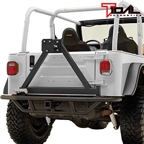 (Tidal Tubular Rear Bumper with Tire Carrier for 87-06 Jeep Wrangler TJ/YJ)