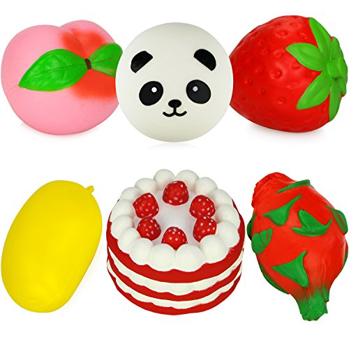 Dreampark Jumbo Slow Rising Fruit Squishes Strawberry Peach Mango Dragon Panda Cake Squishy Charms Kawaii Cream Scented Stress Relief Toy [Pack of 6]