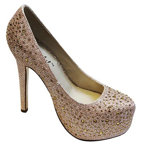 Bonnibel Elegant-8 Kvinners Mandel Lukket Tå Glitter Materiale Med Rhinestone Og Perler Utforming Stil Champagne