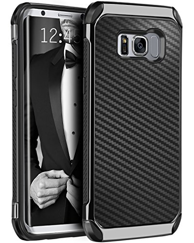 [Galaxy S8 Plus Case, BENTOBEN Hybrid Slim Dual Layer Heavy Duty Hard PC Cover Laminated with Carbon Fiber Texture Chrome Shockproof Protective Case for Samsung Galaxy S8 Plus (6.2 inch), Black] (Carbon Fiber Protective Cover)