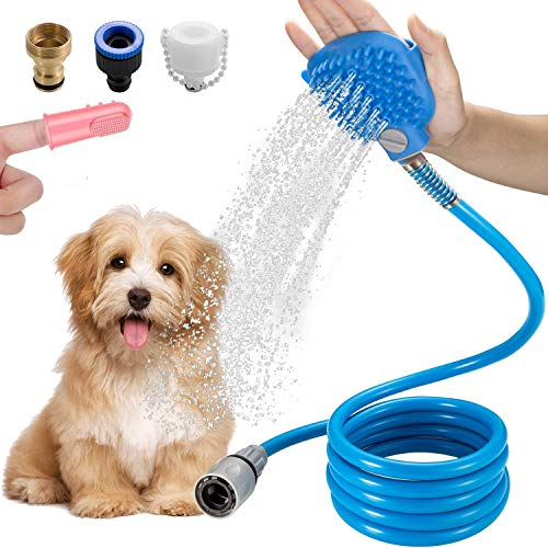Winga Dog Bathing Tool Pet Shower Sprayer & Pet Bath Brush Dog Washing Shower Attachment for Hose Shower Head Faucet…