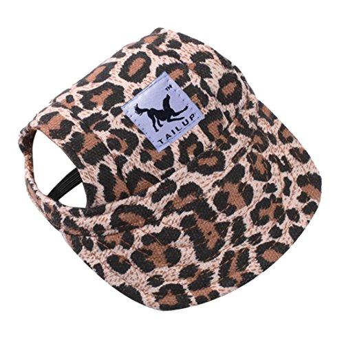 (Pet Hat, OOEOO Visor Cap with Ear Hole Summer Dog Cat Baseball Cap Puppy Hat Sunbonnet (Leopard))