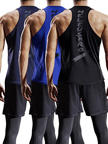 Sports Sleeveless Vest Top - Neleus Men's 3 Pack Mesh Workout Muscle Tank Top,5007,Black,Blue,Navy Blue,US M,EU L