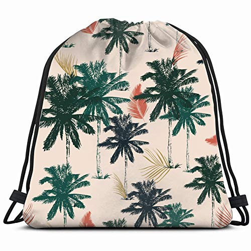 palm tree simple style Drawstring Backpack Gym Sack Lightweight Bag Water Resistant Gym Backpack for Women&Men for Sports,Travelling,Hiking,Camping,Shopping Yoga