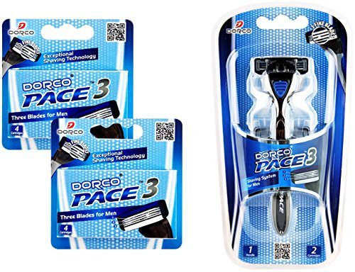 Dorco Pace 3- Three Razor Blade Shaving System- Value Pack – 16 Cartridges (No (16 Cartridge Pack)