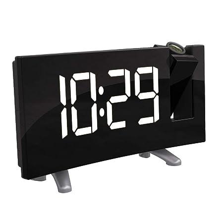 ONEVER Reloj con proyector Digital LED, Pantalla LED Curva (FM 7.1 ...