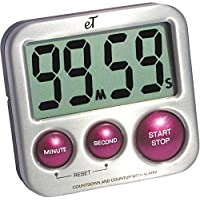 Digital Kitchen Timer Stainless Steel - Strong Magnetic Back - Kickstand - Loud Alarm - Large Display - Auto Memory - Auto Shut-Off - Model eT-24 (Plum) by eTradewinds