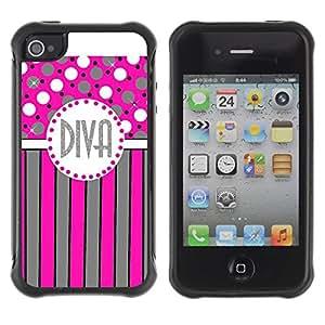 "Hypernova Defender Series TPU protection Cas Case Coque pour Apple iPhone 4 / iPhone 4S [Polka Dot Rosa Gris Rayas Líneas""]"