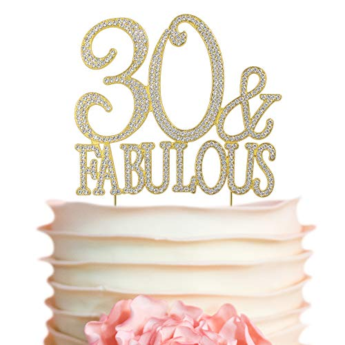 30 and Fabulous Rhinestone Cake Topper | Gold Thirty Birthday Cake Topper | 30th Birthday Party Decorations | Premium Sparkly Crystal Rhinestones | Quality Metal Alloy | Perfect Keepsake (30&Fab Gold)]()