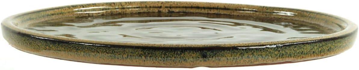 Bonsai Untersetzer 28x28x1.5cm Beige-Braun Rund Glasiert