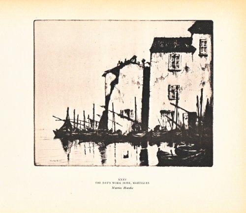The Day's Work Done, Martiguges - Boats and Houses - Vintage Illustration 1929