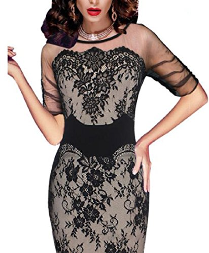 Beige Bodycon Perspective Mesh Pencil Lace Sexy Dress Floral Women Coolred w4zqI07Rx