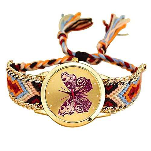 Price comparison product image MINILUJIA Adjustable Charm Bohemia Butterfly Gold Dial Watch with Colorful Rope Braid Band Women Bracelet Watch (Brown)