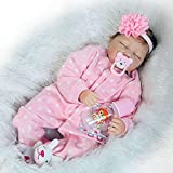 Yesteria Silicone Reborn Baby Dolls Girl Look Real Eye Closed Pink Outfit 22 Inches