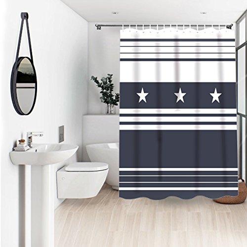 Stripe Charcoal Gray (Wasserrhythm Charcoal Gray White Stripe Stars Shower Curtain 60x72 Inches)