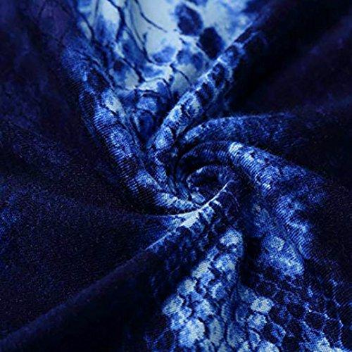 O Autunno Lunghe Maniche Camicette di Collo Casual Shirt Donna Felpa Pullover T Blu Elegante Tops Camicie Stampa ABCone wCtq4f7