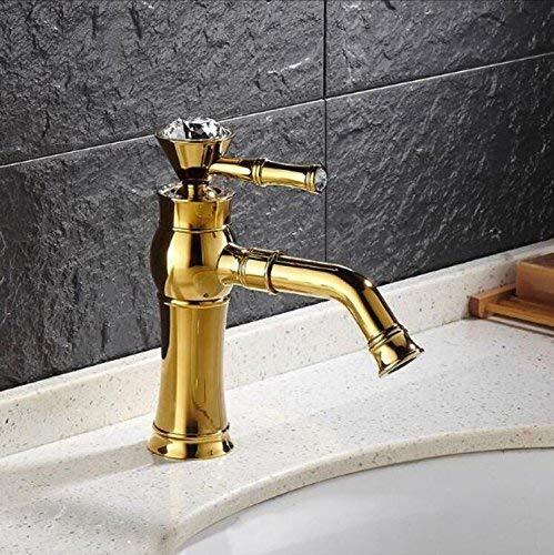 JingJingnet のデッキマウントシングルハンドルカウンタートップ洗面器の蛇口ゴールド真鍮ホット&コールドウォーターバスルームミキサータップ (Color : B) B07R9P4BNV B