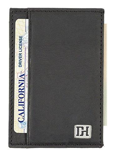 Mens Wallets - Credit Card Holder Front Pocket Wallets for Men - Thin Slim Leather Wallets for Men (Black Leather/Black Thread)