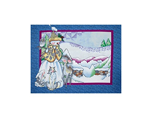 Springs Creative Products Jim Shore Woodland Snowman 35 in. Panel Blue Fabric