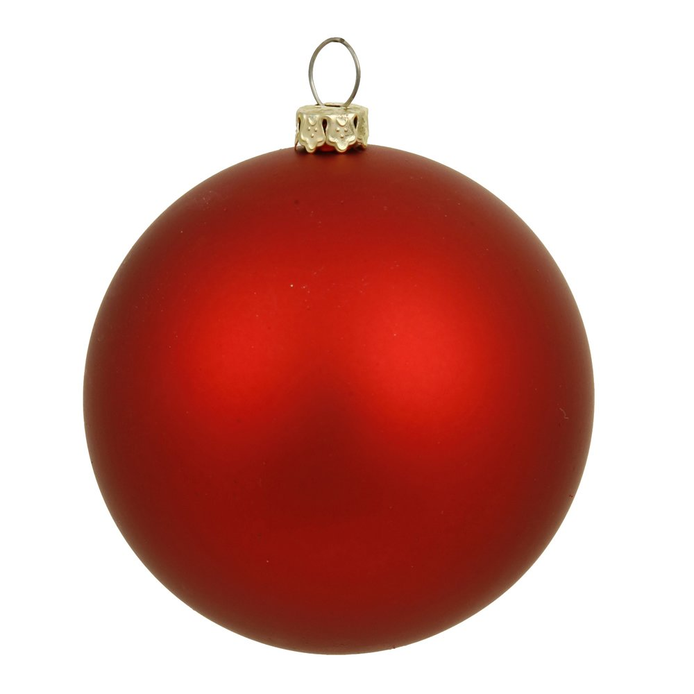 Vickerman Matte Finish Seamless Shatterproof Christmas Ball Ornament, UV Resistant with Drilled Cap, 6 per Bag, 4'', Red