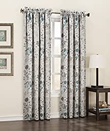 Sun Zero Kara Energy Efficient Rod Pocket Curtain Panel, 54 x 63 Inch, Stone Beige Floral Print
