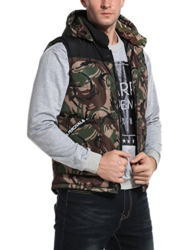 Coofandy Men's Fashion Casual Camouflage Sleeveless Outerwear Winter Hooded Vest, Green, Medium (Camouflage Vest)