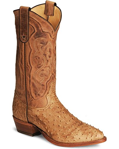 Tony Lama Men's Antique Tan Vintage FQ Ostrich Western Boot,Antique Tan,9.5 D US (Fq Ostrich)