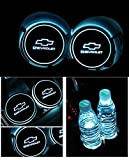 JSAMZ Car Logo LED Cup Pad led Cup Coaster USB Charging Mat Luminescent Cup Pad LED Mat Interior Atmosphere Lamp Decoration Light for Chevrolet Accessories (for Chevrolet)