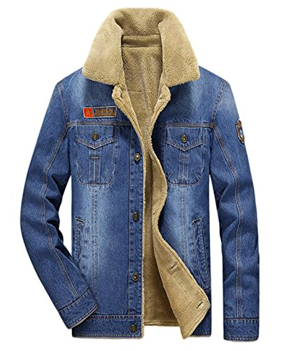 Quilted Jeans (HOWON Men's Plus Cotton Warm Fur Collar Sherpa Lined Denim Jacket Button Down Classy Casual Quilted Jeans Coats Outwear Light Blue L)
