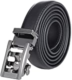 Marino Boy's Genuine Leather Belt, Ratchet Dress Belt with Automatic Buckle - 5-16 - Gunblack Silver Open Buckle with Black Leather