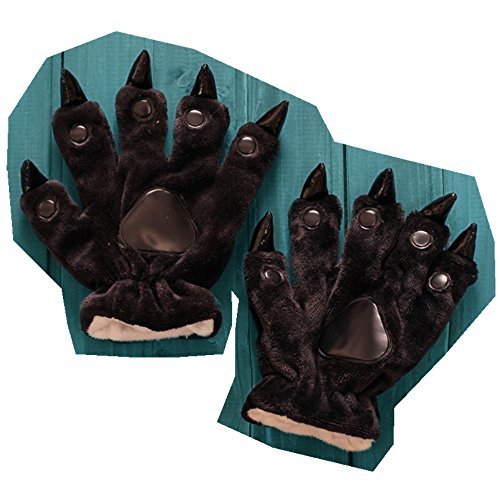 Mens Anime Halloween Theme Glove Paws Furry Realistic Sharp Claws Tiger Cat Fox Dinosaur Cosplay for Costumes for Kids Couples -