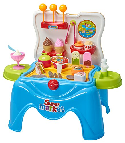 Children's Pretend Play Ice Cream Playset Toy In Foldable Stool- Dessert Play (39 Piece (Ice Cream Toy)