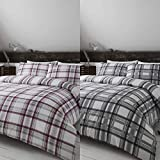 Happy Linen Company Highland Checked Tartan Stripe Mulberry Reversible Single Bedding Duvet Cover Set