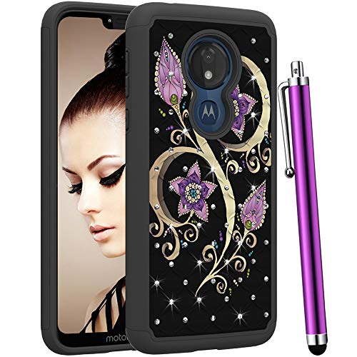 CAIYUNL for Moto G7 Power Case,Bling Glitter Sparkle Studded Rhinestone Dual Layer Shockproof Rugged Protective Phone Cover for Motorola Moto G7 Power/G7 Supra (NOT fit Moto G7)-Black Purple ()