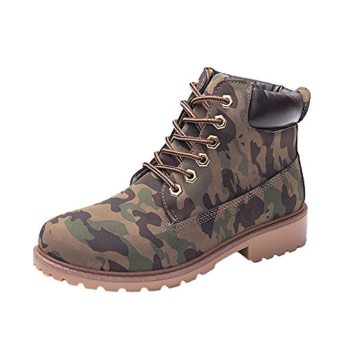 WUIWUIYU Men's Women's High-Top Lace Up Ankle Boots Combat Booties Outdoor Walking Hiking Trekking Shoes Camouflage US Women Size 7.5 -