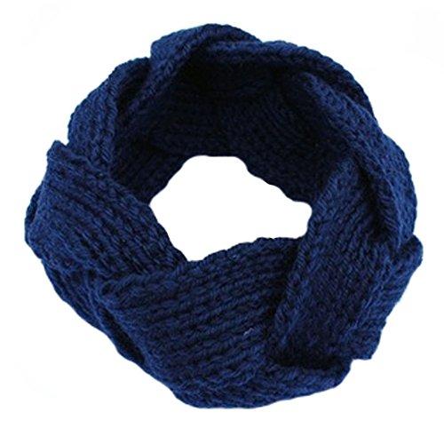 Girls Knitted Headband Knit Hairband Braided Hair Band Headwrap, Navy Blue