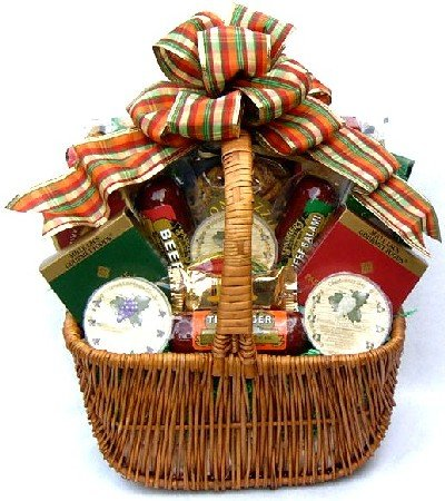 Cheese Sausage and Snacks Gourmet Gift Basket | Meat and Cheese Christmas Gift Idea