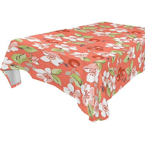 Stowely Tiffanyuo Cherry and Beautiful Blossoms Tablecloths for Water Resistant Wrinkle Free and Stain Resistant Fabric Kitchen Room
