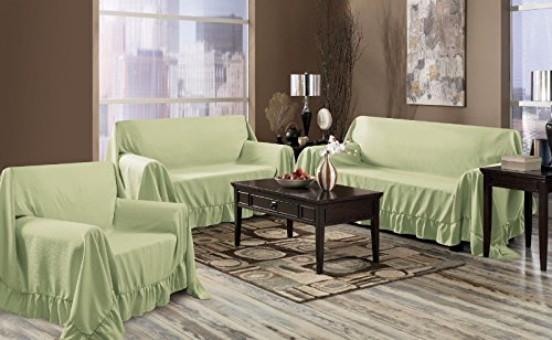Window Treatment Sage Venice 3 Piece Set Sofa Loveseat & Chair Furniture Throw Covers, Ruffle Border