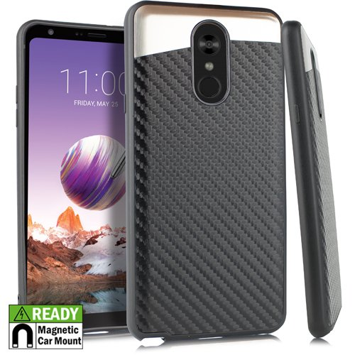 LG Stylo 4 Cellphone Case - Slim Thin Wireless Protective Smart Phone Case Built-in Metal Plate Lightweight Phone Cover Compatible Stylo4 - Carbon Fiber 01 (Best Slim Smartphone Under 10000)