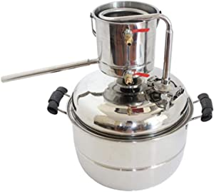 AIMEE-JL New DIY 10L Alcohol Distiller Home Brewing Kit Stainless&Copper Cooling Home Wine Making Moonshine Still Water Distillation Brew Fermenter Tank for Making White&Fruit Spirit (Stainless)