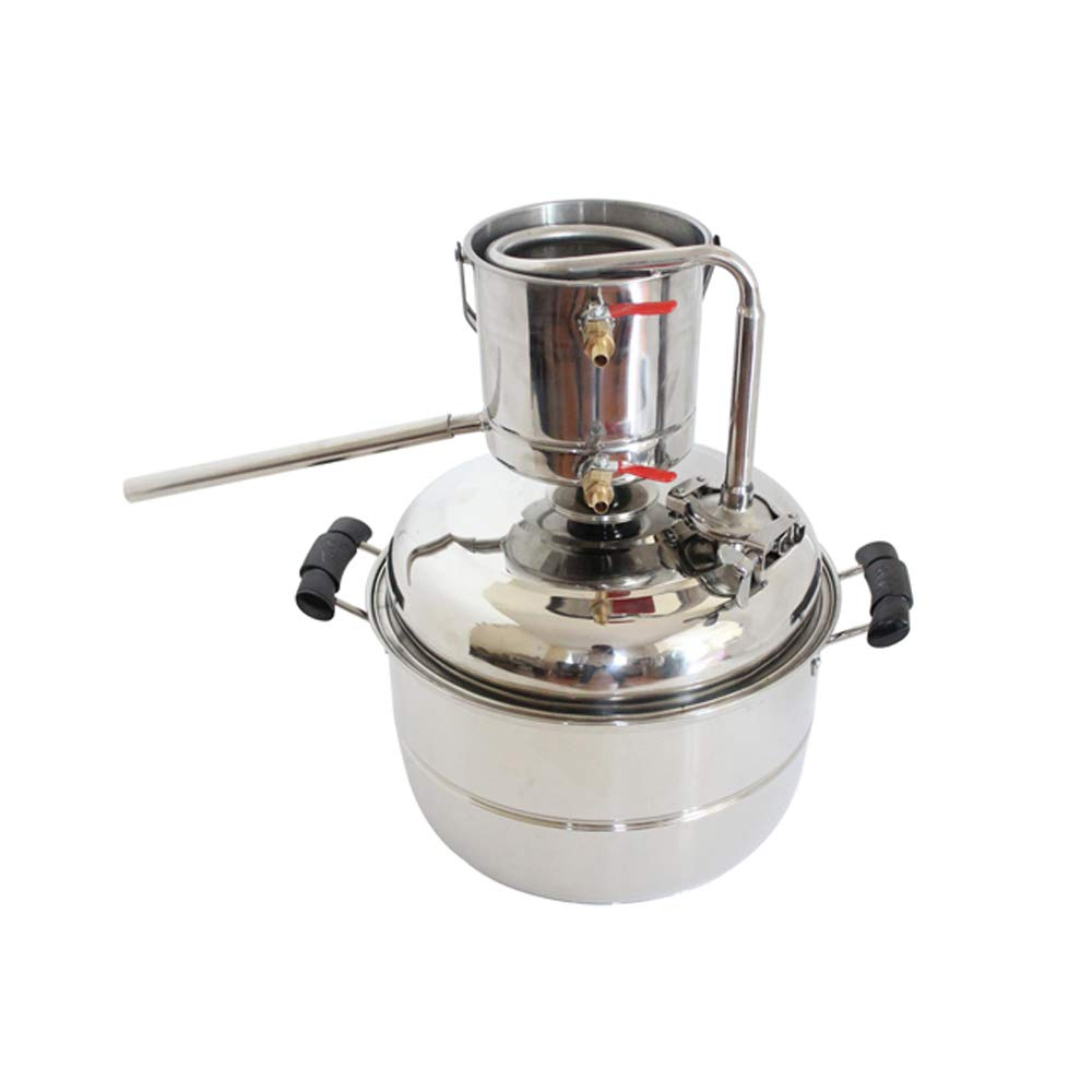 New DIY 10L Alcohol Distiller Home Brewing Kit Stainless&Copper Cooling Home Wine Making Moonshine Still Water Distillation Brew Fermenter Tank For Making White&Fruit Spirit (Stainless)