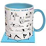 How To: Yoga Coffee Mug - Learn Yoga Poses While You Drink Your Coffee - Includes a Yoga Mat Coaster and Comes in a Fun Gift Box - by The Unemployed Philosophers Guild