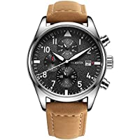 Men's Watch,Men's Luxury Bussiness Waterproof Multiuntion LED Light Calftskin Leather Band Brown Watch