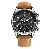 Men's Watch,Men's Luxury Bussiness Waterproof Multiuntion LED Light Calftskin Leather Band Watch for men (Brownblack)
