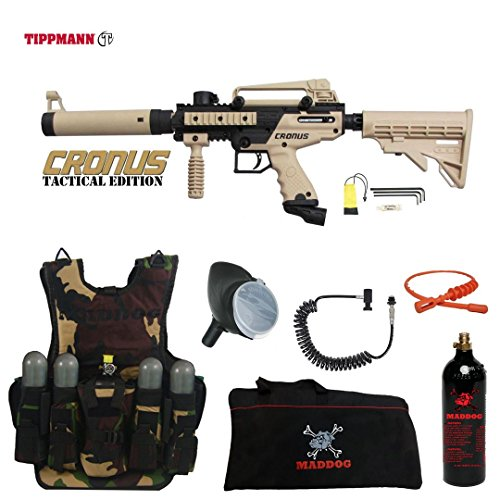 MAddog Tippmann Cronus Tactical Lieutenant Tactical Camo Vest Paintball Gun Package - Black/Tan