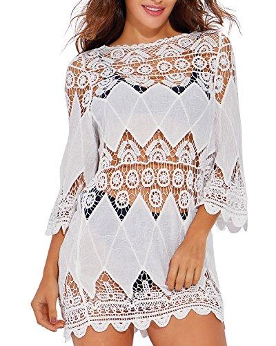 Funnygirl Women's Summer Bathing Suit Cover up Lace Crochet Tunic Bikini Swimsuit Beach Dress White Medium-Large One Size