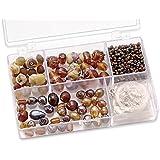 Knorr prandell 216049580 Sortimentsbox Glasperlen (klein, 11,5 x 7,5 x 2,5 cm, 80 g) braun